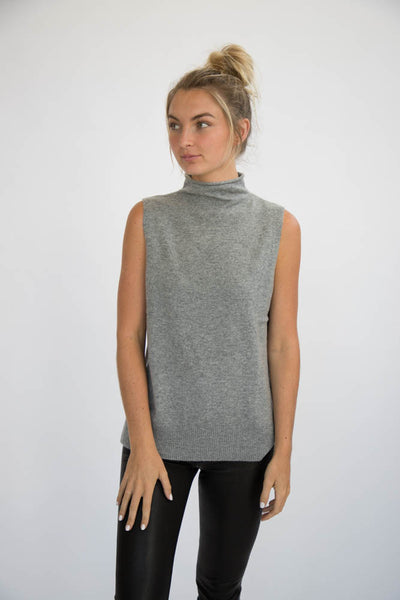 ELEIS COLLECTIVE -The Side Slit Tank - Heather Grey