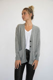 Eleis Collective- The Rib Detail Cardigan - Heather Grey