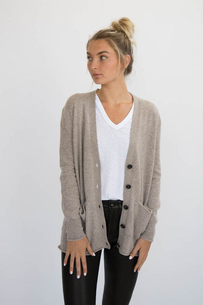 Eleis Collective - The Rib Detail Cardigan - Wheat