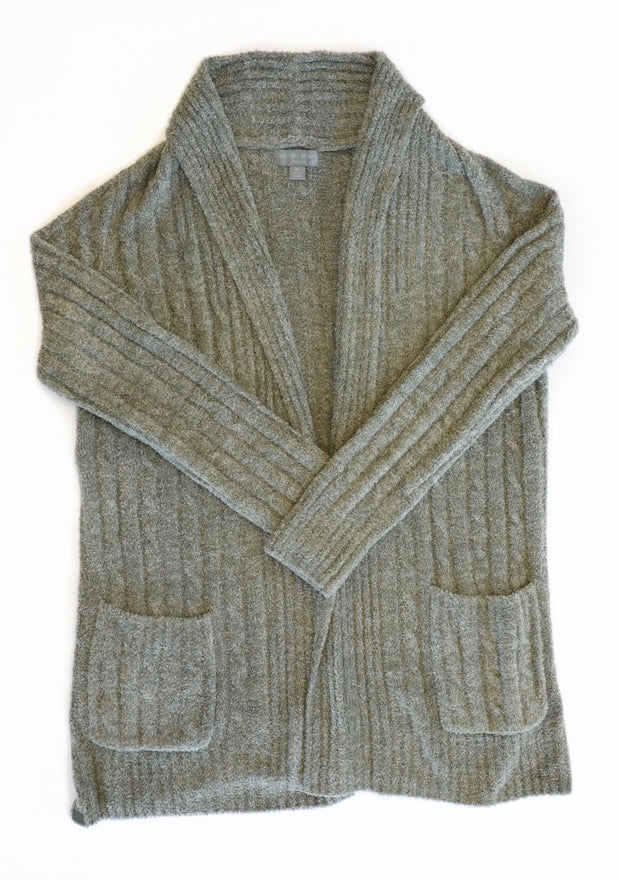 BAREFOOT DREAMS - Cozychic Lite Cable Cardi in Olive/Loden