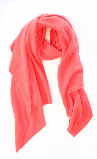White + Warren - Cashmere Travel Wrap in Neon Coral