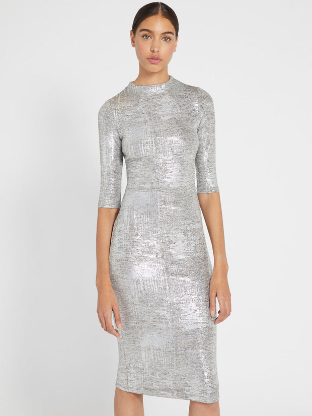 Alice + Olivia - Delora Fitted Mock Neck Dress in Silver
