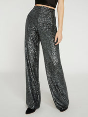 Alice + Olivia - Dylan High Waisted Wide Leg Pant in Gunmetal