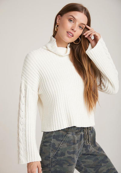 Bella Dahl - Cable Sleeve Turtleneck in Winter White