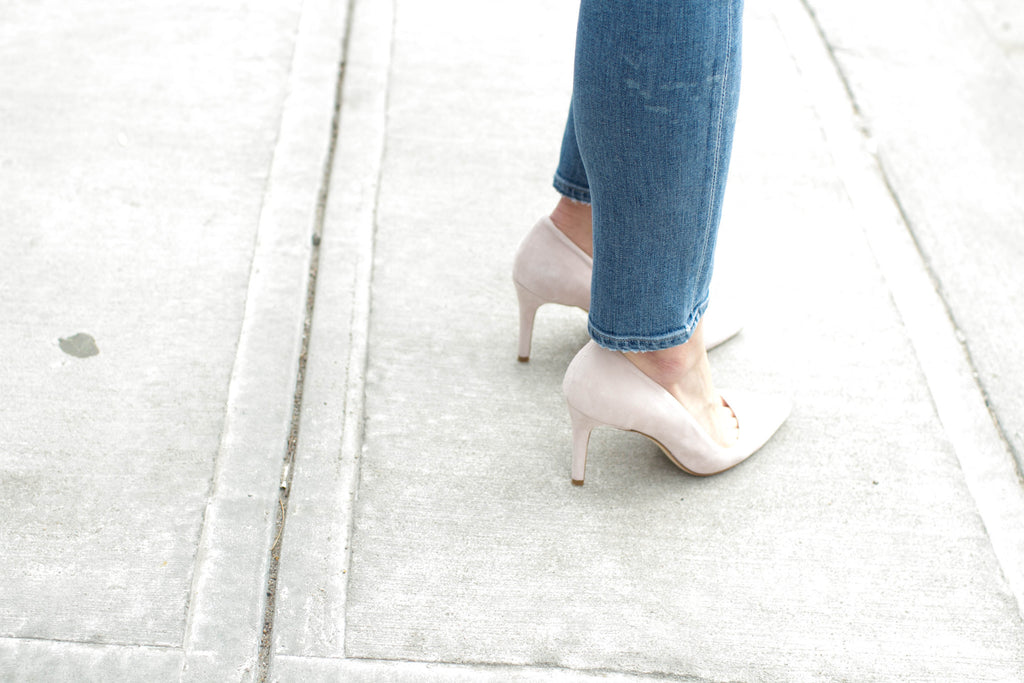 Dee Keller Gold Paige Pointed Toe Pump Pale Pink at Blond Genius - 3