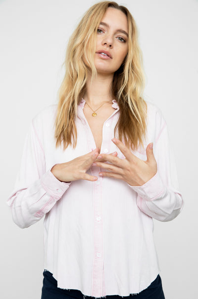 RAILS - Ingrid Raw Button Shirt in Dusty Rose