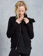 Frank & Eileen - Asymmetric Zip Fleece Jacket in Black