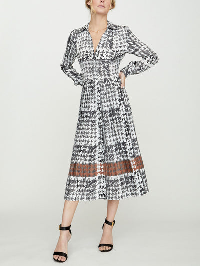 BROCHU WALKER - Laua Pleated Dress Houndstooth