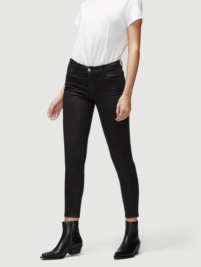FRAME - Le High Skinny Coated Noir Coated Jeans