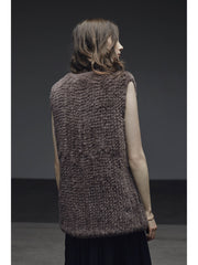 H-Brand Hand Knitted Rabbit Fur Long Vest Libby Truffle at Blond Genius - 2