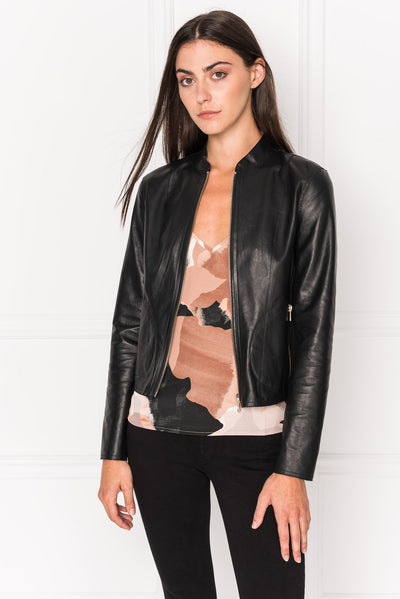 Lamarque - Chapin Leather Bomber Jacket in Black/Gold