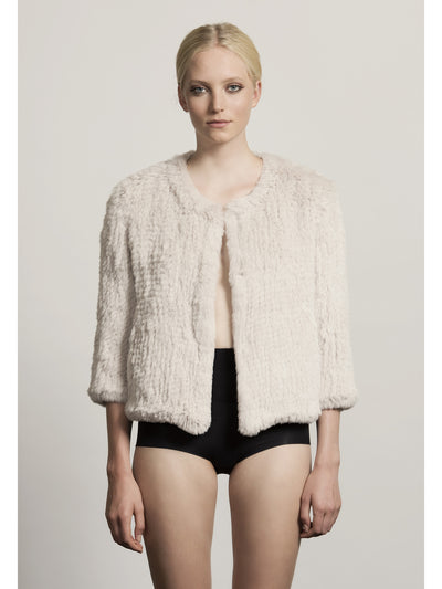 H-Brand H-Brand- Hand Knitted Rabbit Fur Jacket Lola Black at Blond Genius - 1