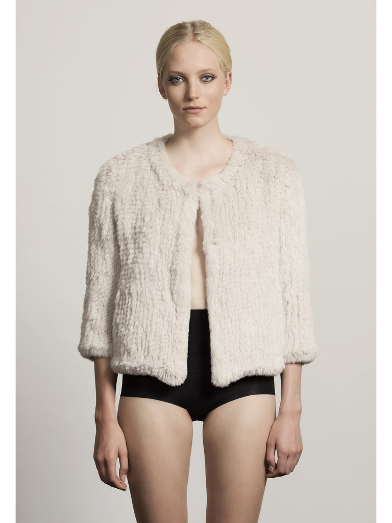 H-Brand H-Brand-Hand Knitted Rabbit Fur Jacket Lola Chalk at Blond Genius - 1