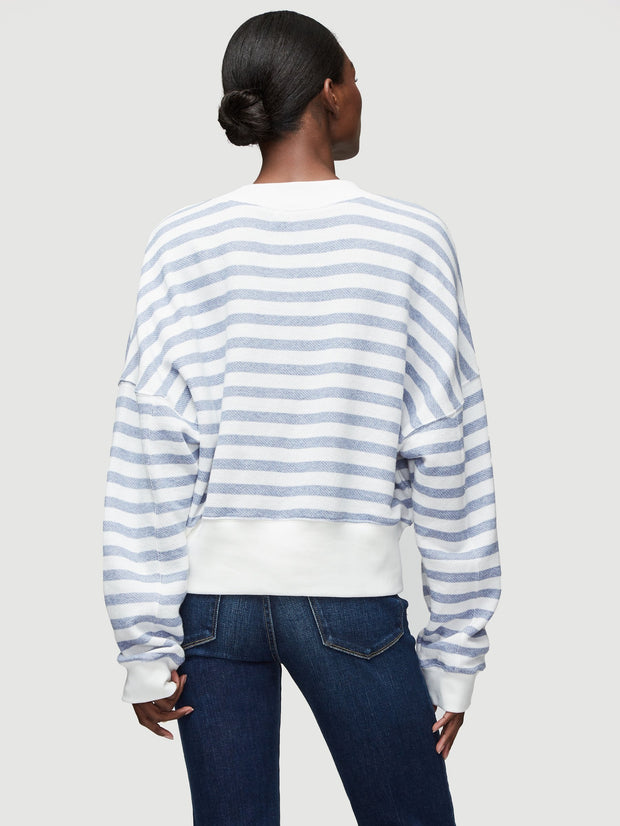 FRAME - Drop Shoulder Crew Pullover Chambray Multi