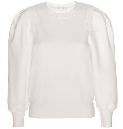 Frame - Pleated Panel Sweatshirt in Off White