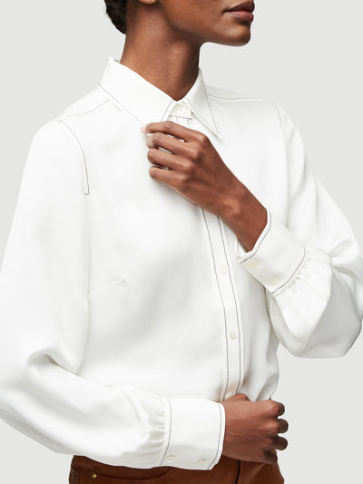 Frame - 70s Contrast Stitch Shirt in Blanc