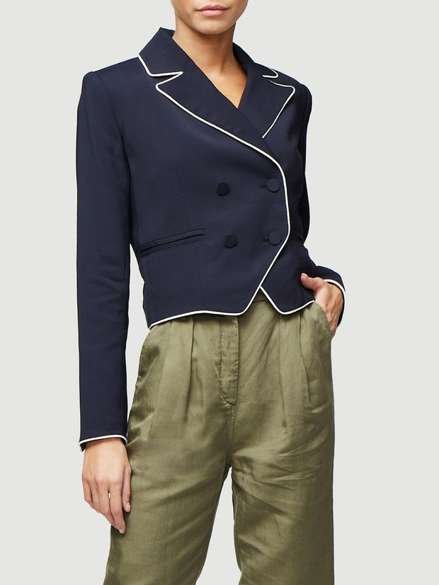 Frame - Double Breasted Piped Jacket Navy