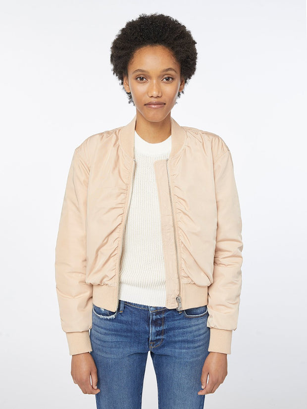 Frame - Shirred Bomber Jacket in Nude