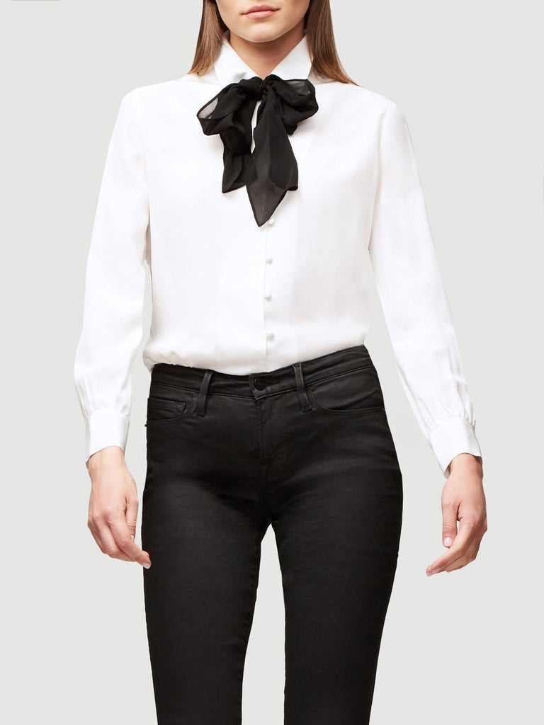 FRAME- Pussy Bow Blouse Off White