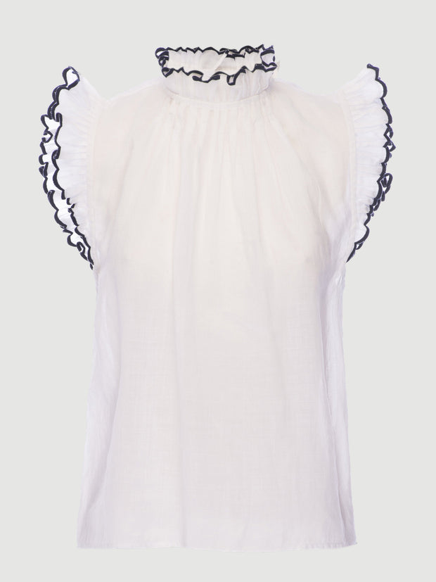 Frame - Tipped Sleeveless Top Blanc Multi