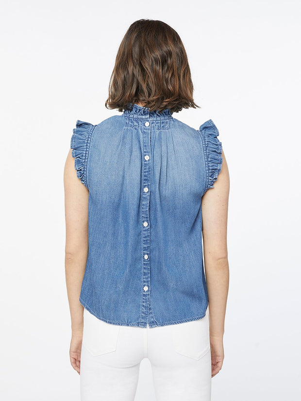 Frame - Ruffle Denim Sleeveless Top in Joanie