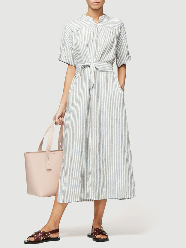 FRAME - Button Up Wrap Dress in Off White Multi