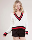 27 Miles - Lyss Open Knit Tennis Sweater in White Combo