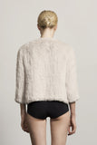 H-Brand H-Brand-Hand Knitted Rabbit Fur Jacket Lola Chalk at Blond Genius - 2
