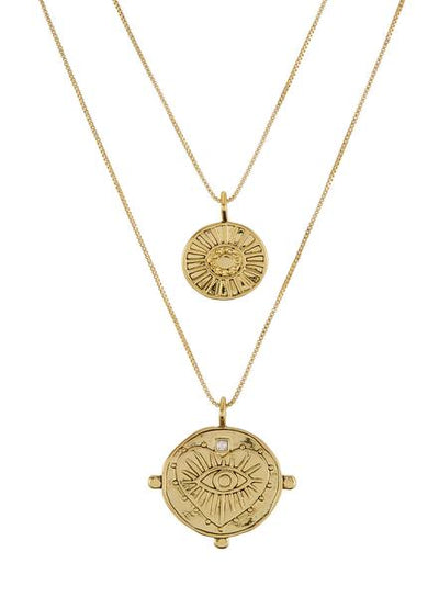 LUV AJ - The Evil Eye Double Coin Necklace in Gold
