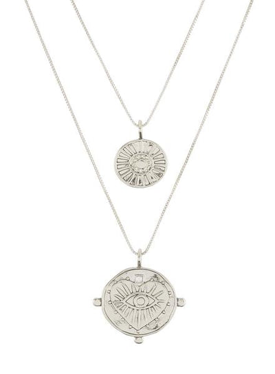 LUV AJ - The Evil Eye Double Coin Necklace in Silver