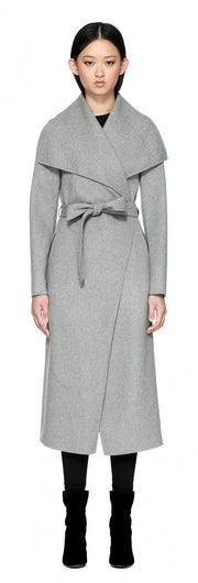 Mackage Mackage- Mai Long Coat + belted waist Light Grey at Blond Genius - 1