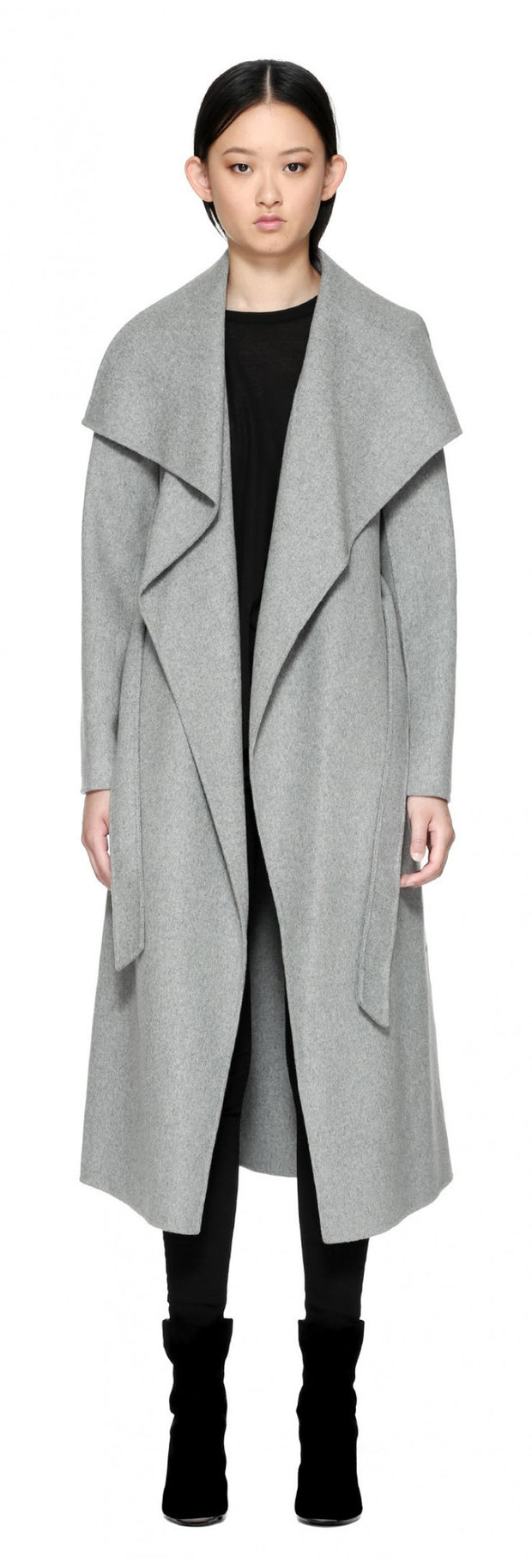 Mackage Mackage- Mai Long Coat + belted waist Light Grey at Blond Genius - 2