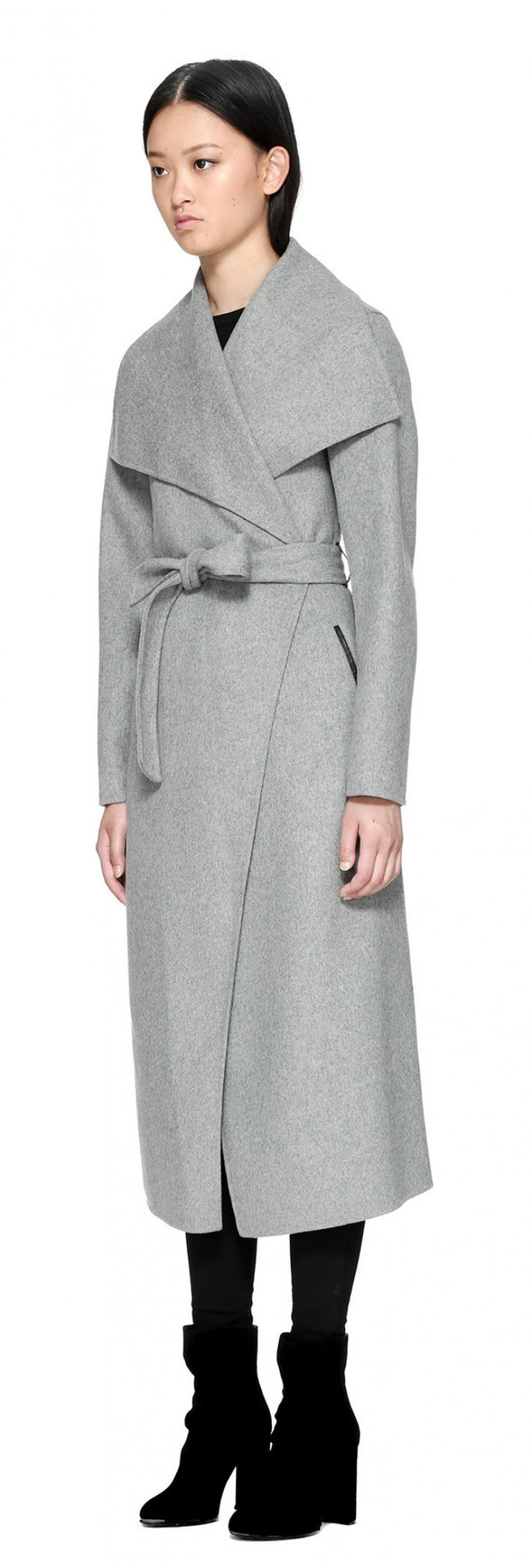 Mackage Mackage- Mai Long Coat + belted waist Light Grey at Blond Genius - 3