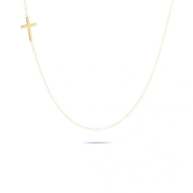 Adina - Tiny Cross Necklace 14K Gold