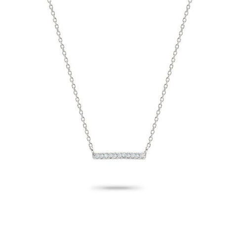 Adina - Solid Pave Bar Necklace Sterling Silver