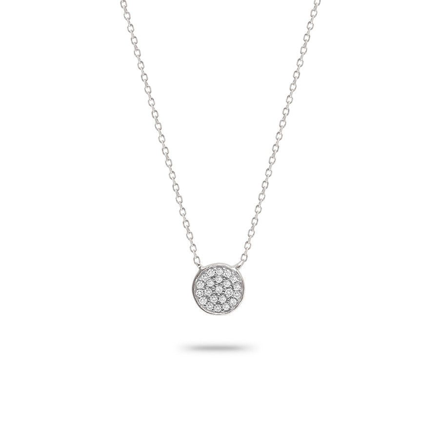 Adina - Solid Pave Disc Sterling Silver