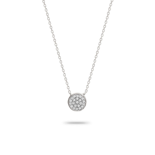 Adina - Solid Pave Disc Necklace in Sterling Silver