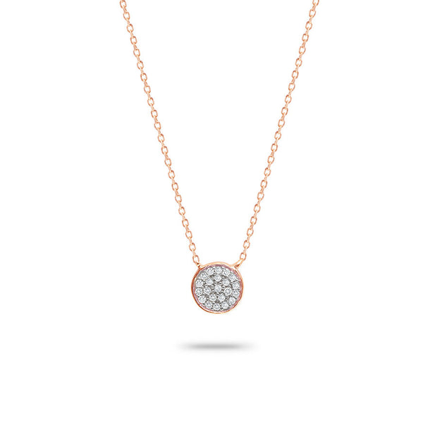 Adina - Solid Pave Disc Necklace Rose Gold