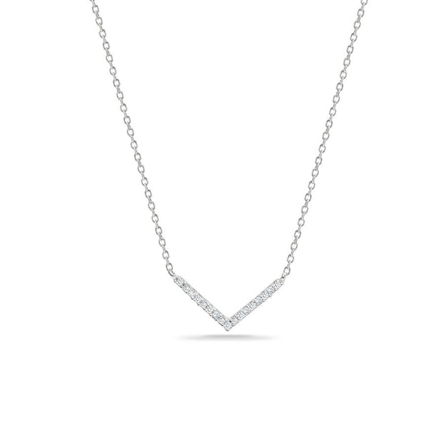 Adina ADI - Tiny Pave V Necklace Silver at Blond Genius