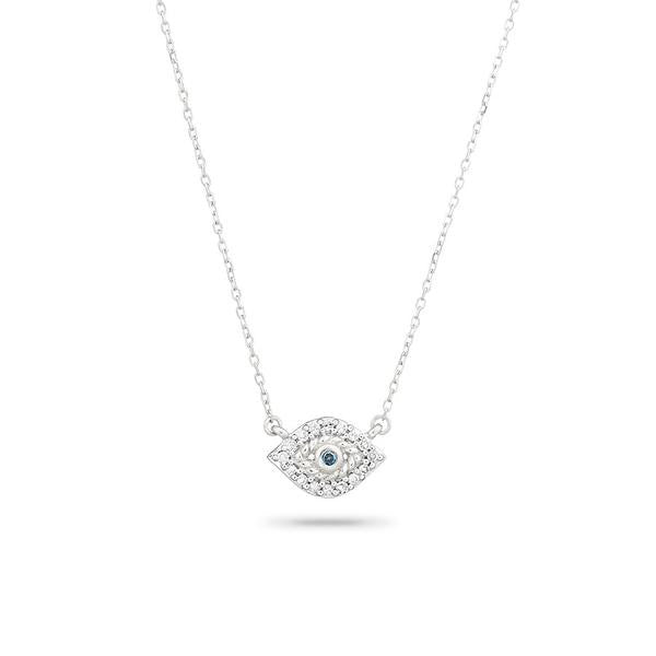 Adina - Tiny Pave Evil Eye Necklace