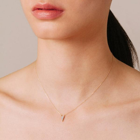 Adina Reyter - Super Tiny Long Pave Triangle Necklace