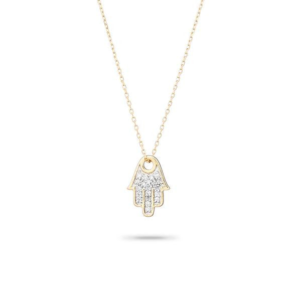 Adina - Solid Pave Hamsa Necklace