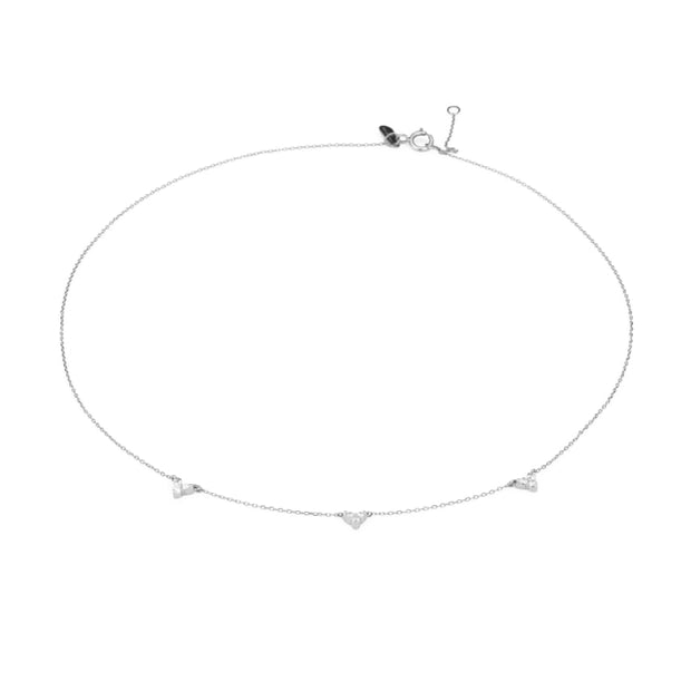 Adina - 3 Cluster Chain Choker Necklace in Sterling Silver