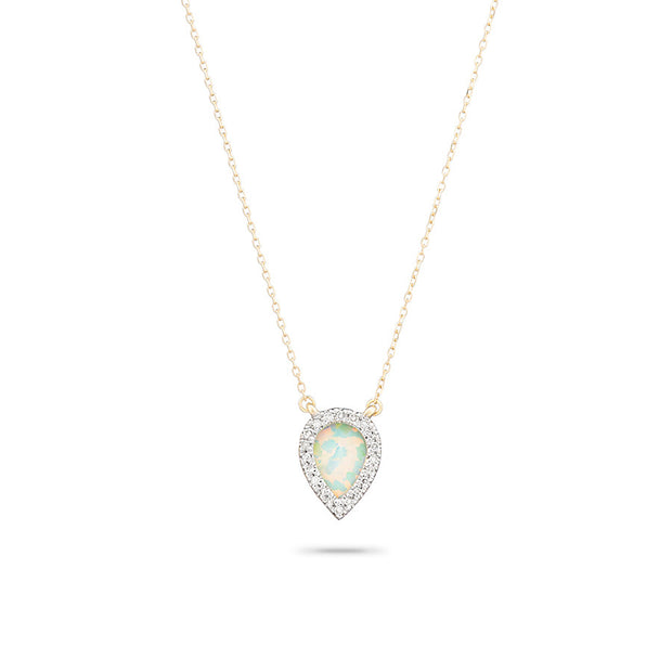 Adina ADI - Small Opal + Diamond Teardrop Pendant Y14 N820SOPDT at Blond Genius