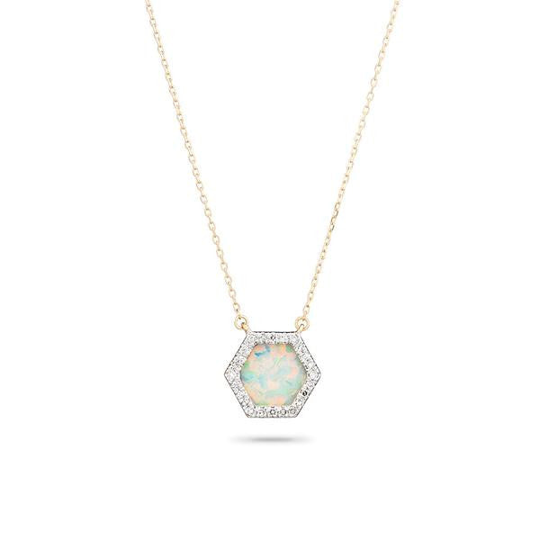 Adina - Opal + Diamond Hexagon Pendant