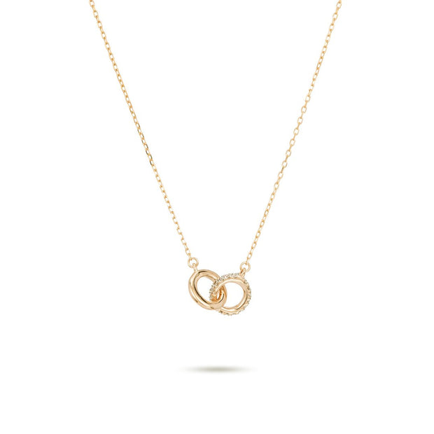 Adina - Pave Interlocking Loop 14K Gold Necklace