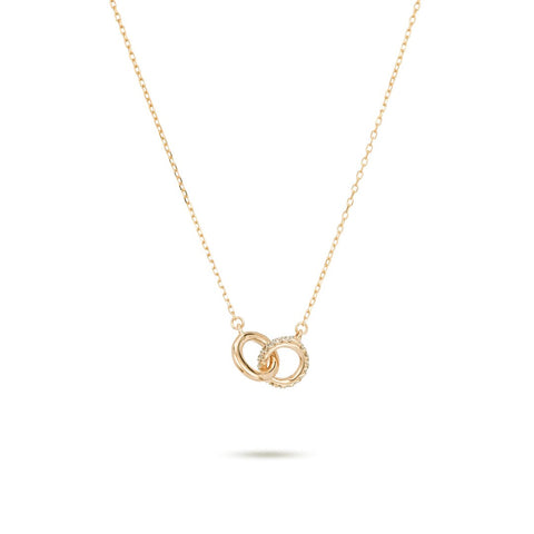Adina - Pave Interlocking Loop Necklace  14K Gold