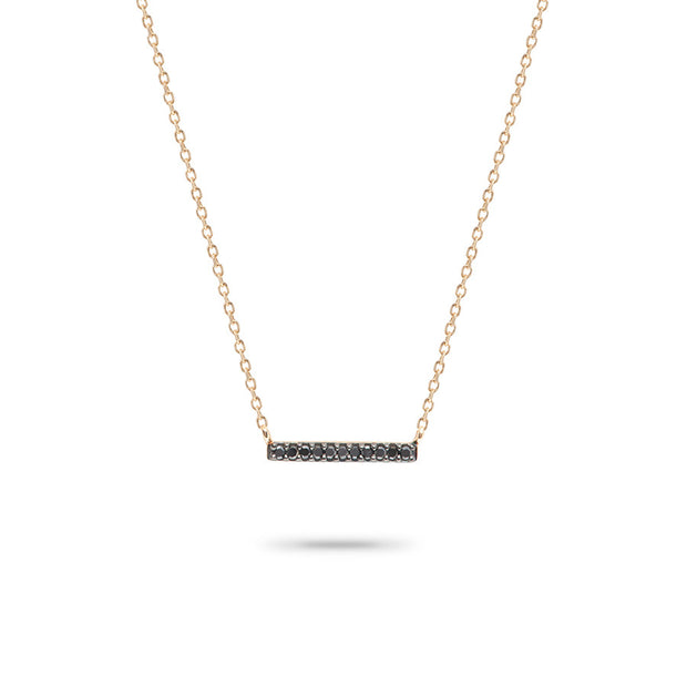 Adina - Pave Bar Necklace with Black
