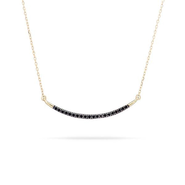 Adina - Large Pave Curve Necklace with Black Diamonds