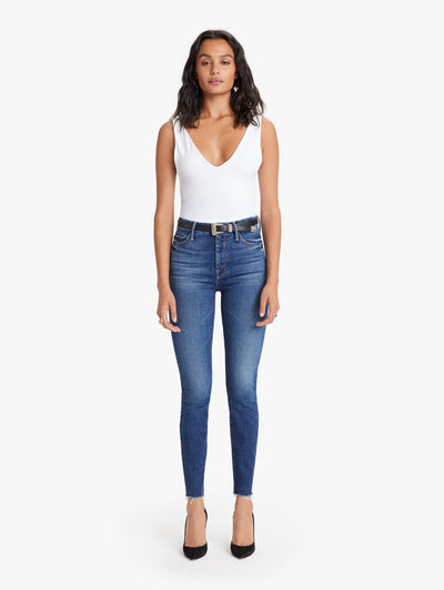 Mother Denim- High Waisted Looker Ankle Fray Jeans in Night Clubbing